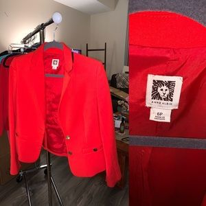 Anne Klein 6P Bright Red Blazer